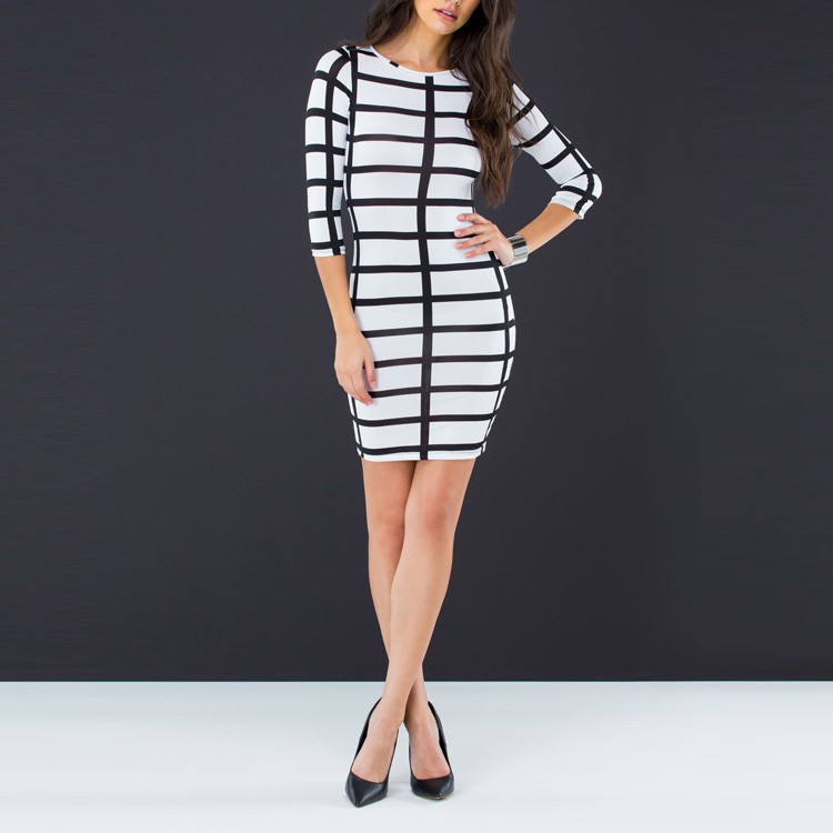 Fashion dress designs lady 3 colors rectangular grid print knit bandage dress