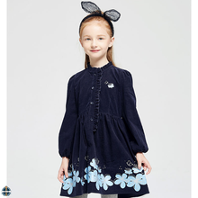 T-GD002 New Model Casual Corduroy Flower Printed Girl Winter Dress