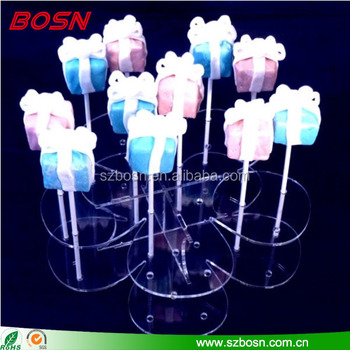 Flower shape clear plexiglass cake pop stick stand lucite candy display rack