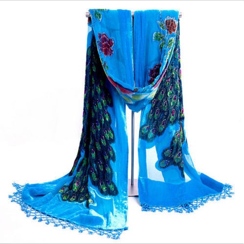 Lady Women Beaded Velvet Embroidered Silk Wrap Shawl <strong>Scarf</strong> hijab