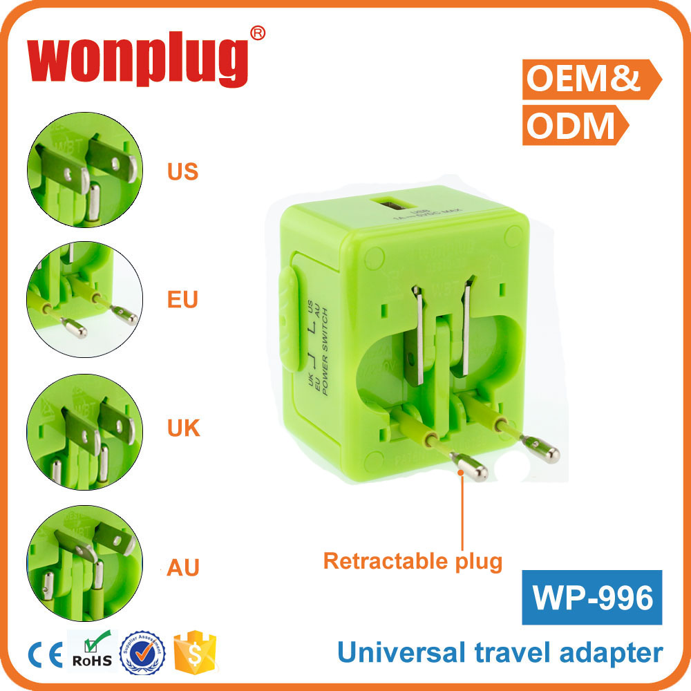 2016 promotional gift items universal adapter with usb 5V 1A from guangzhou wonplug