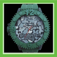 High Quality Products Bros Army Mr Shark Men Waterproof PVC Band Rubber Wrist Army Green Watch For Four Seasons