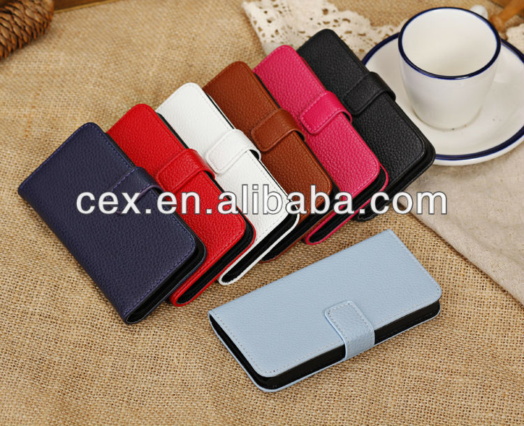 New Arrival Folio Design Litchi Texture Stand PU Leather Wallet Case Cover with Card Slots for iPhone 5C