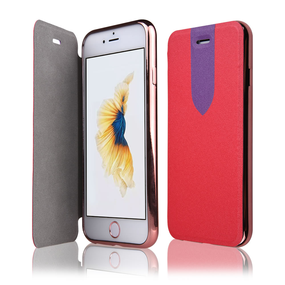 C&T Flip PU Electroplated Soft TPU Clear transparent Back Cover Leather Cases for iPhone 6/ iPhone 6S