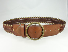 Hot sale honest leather women western beaded punk belt