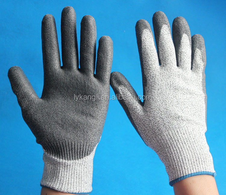 HDPE PU coated cut resistant gloves level 3 kitchen gloves