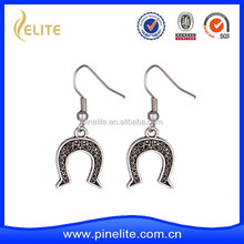 custom made cheap metal earrings with plating antique silver, personalized metal earrings