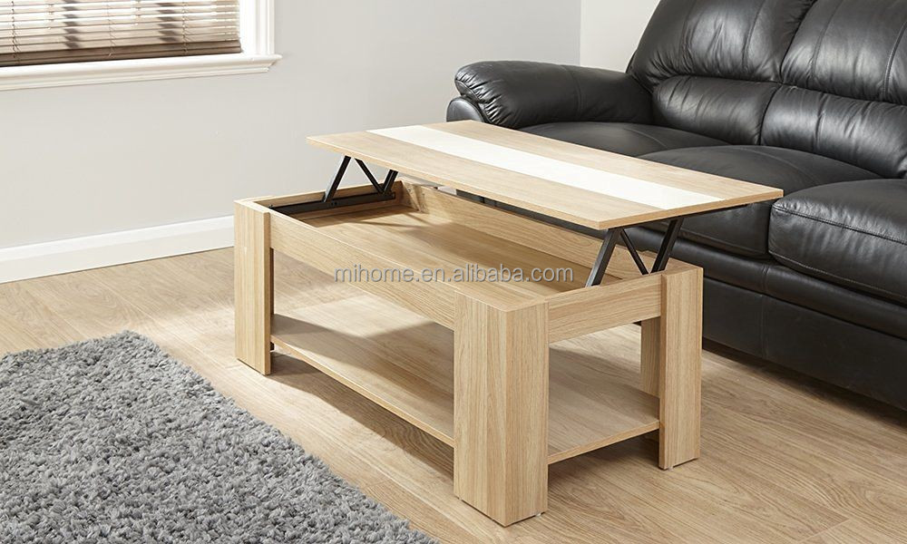 new Modern Lift Up Top Coffee Table with Storage & Shelf