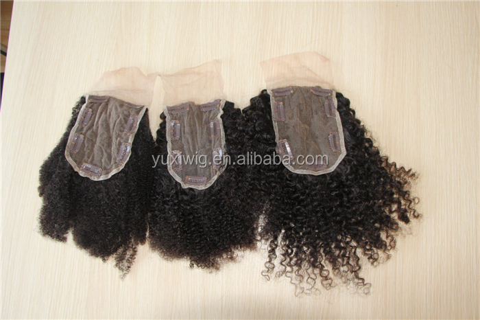 Kinky curly/afro kinky/koil texture virgin human clip on top lace closure wholesale
