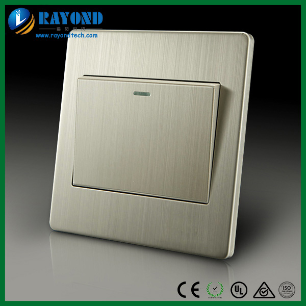 Brushed Stainless Steel Wall Plate Single Gang One Way Light Switch