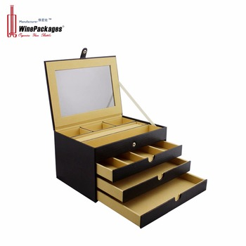 Luxury black leather jewelry box with drawer