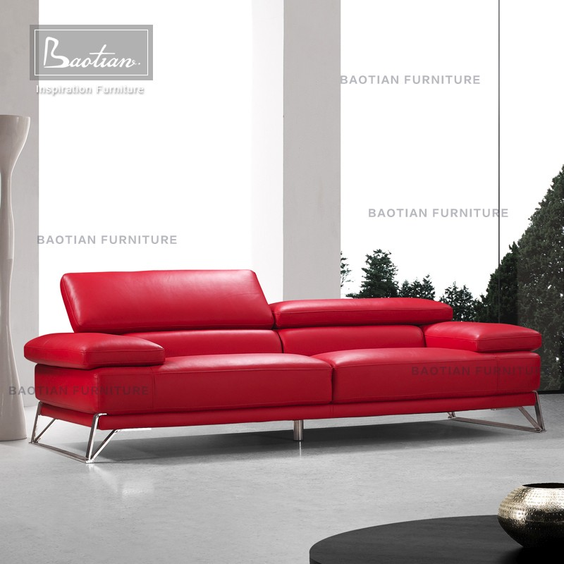 Baotian Furniture Modern Red Leather Sofa Set With Movable