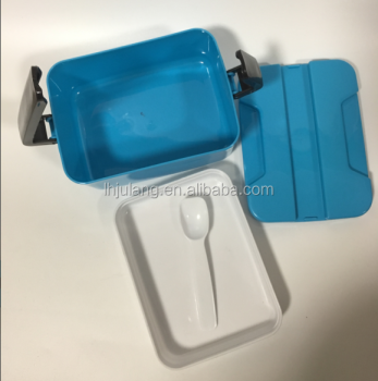 New design rectangular plastic double 2 layer multi food server mens Lunch Box / Plastic lunch box with handle