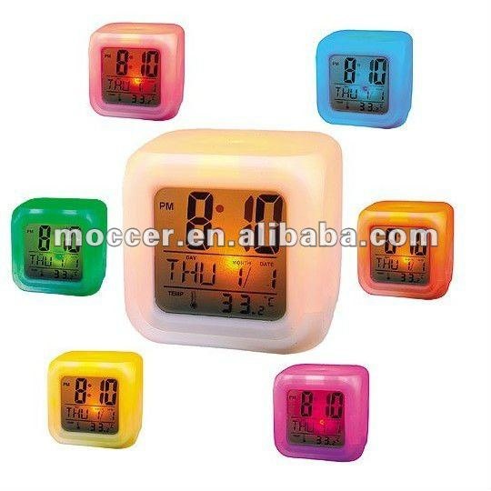 GLOWING LED light mood night color changing digital Alarm desk clock Thermometer