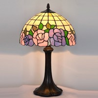 "12""W European style Tiffany rose Table lamps, Art Tiffany desk lamp Tiffany stained glass lamp"
