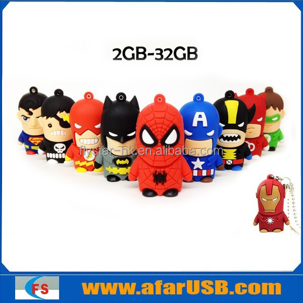 10 Models Quality 3D cartoon America Super hero USB flash drive, mixed models, America captain, batman, spideman, ironman,