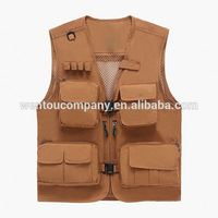 Outdoor Fishing Photographic Mesh Mutil Functional Pockets Buckle Vest for Men