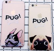 Pug dog cartoon print cute animal clear transparent soft tpu relief back case cell phone case for Iphone X 7 8 8 plus 6,6 plus