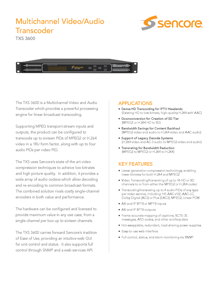 TXS3600 Multichannel Video Audio Transcoder For IPTV