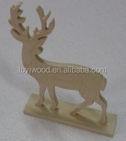 wood carving deer childen gift home furnishings