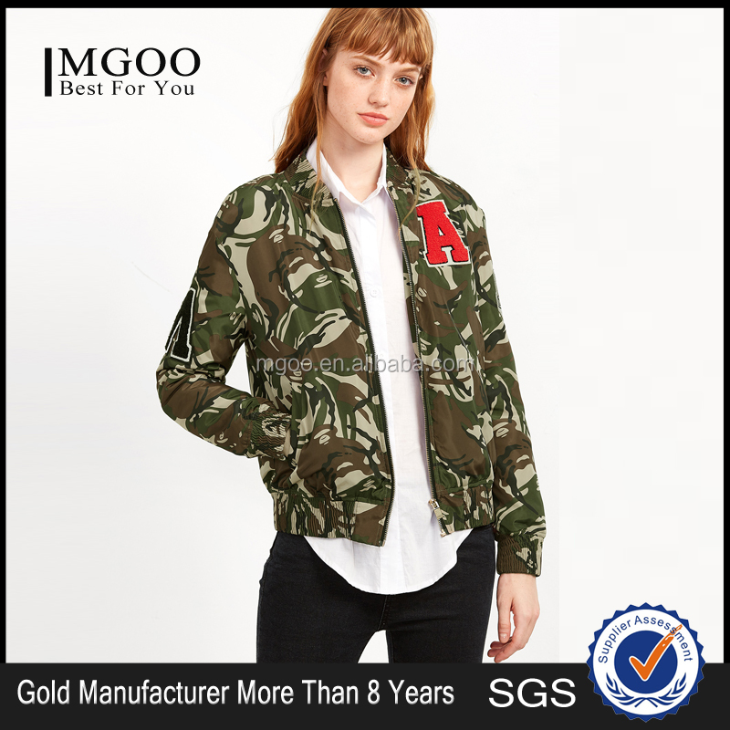 Customized Print Bomber Jacket 100% Polyester Zipper Camouflage Patch Jacket Uniform Wholesale Price
