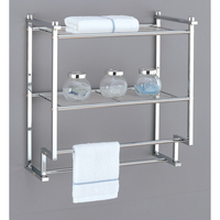 Organize Bathroom Storage Rack 2-Tier Wall Mounting Rack with Towel Bars