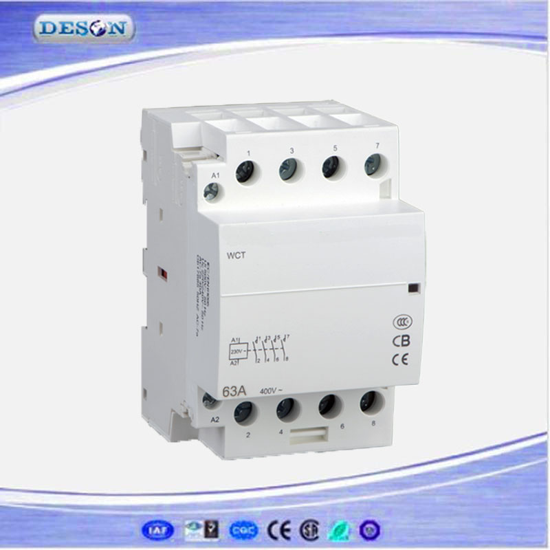 Household Modular AC Contactor 40A, Four Pole AC Contactor Function, 4NO Magnetic Contactor 110V/220V 50Hz