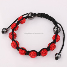 Hot china products wholesale disco ball shamballa macrame bracelet red rhinestones clay beadings jewelry