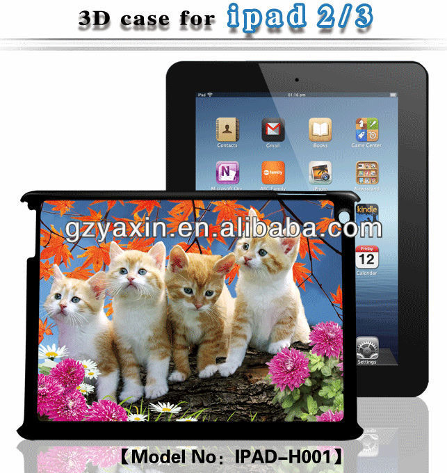 For ipad cases and covers,Plastic Back Hard Cover Case for ipad2 3D design