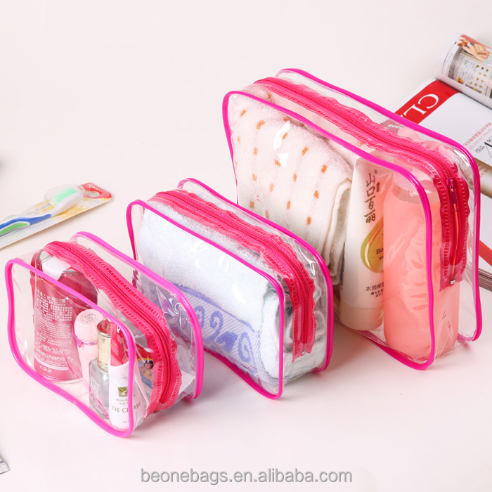 Wholesale trendy traveling toiletry bags pvc clear cosmetic bag set with custom logos