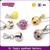 guangdong supplier rhinestone baseball charm,football pendant volleyball charms