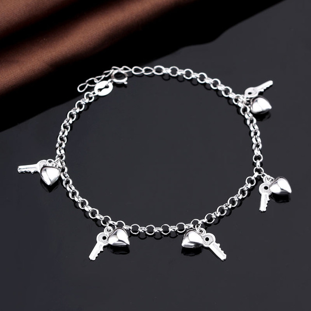 Best Wholesale Website Girl's Anklet Chain Hand Brace Lace With Couple Hears & Keys