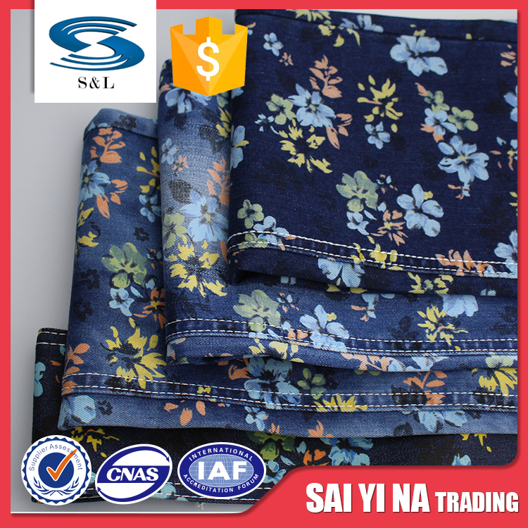 100%cotton jeans printed twill denim fabric with cheapest price