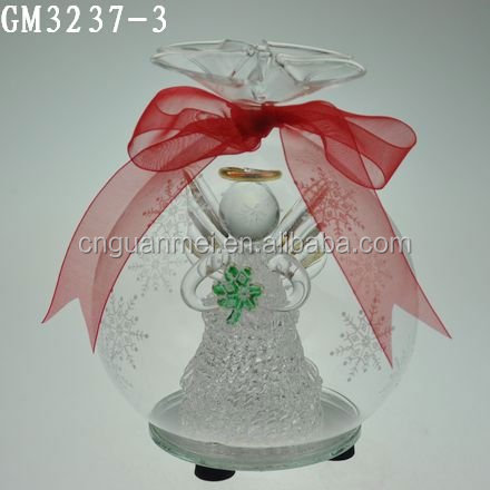 wholesale clear glass snow bubble with red bow