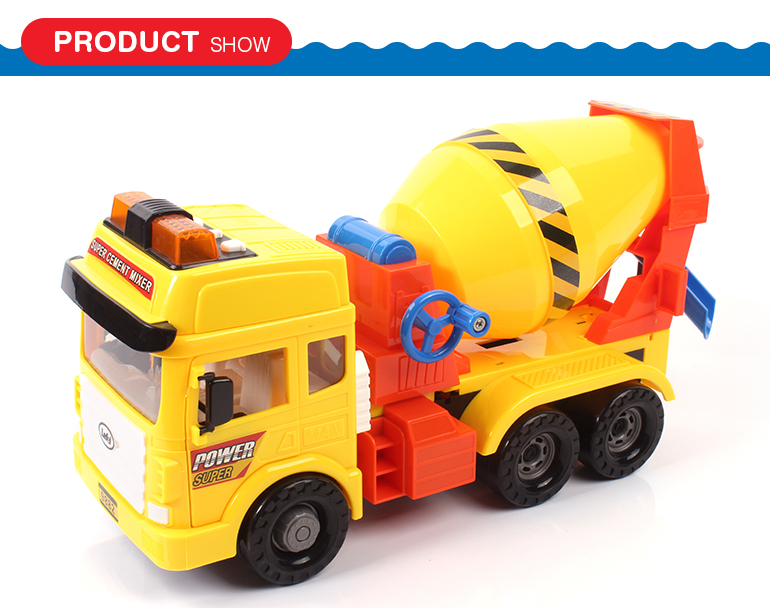 Musical friction powered plastic cement mixer construction truck toys with lighting
