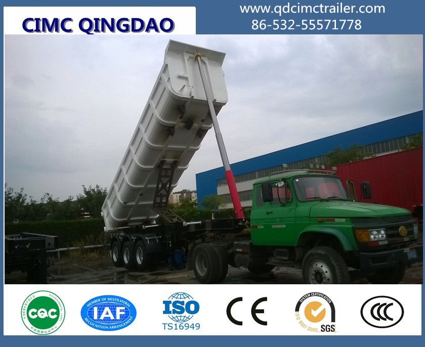 Heavy duty 3 axles 35ton hydraulic tipper dump trailer