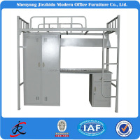 industrial cheap strong adult military steel metal frame dormitory bunk bed with locker