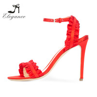 2018 Fancy Women Shoes Peep Toe Brick Red Ruffle Ankle Strap High Heel Sandals Pictures