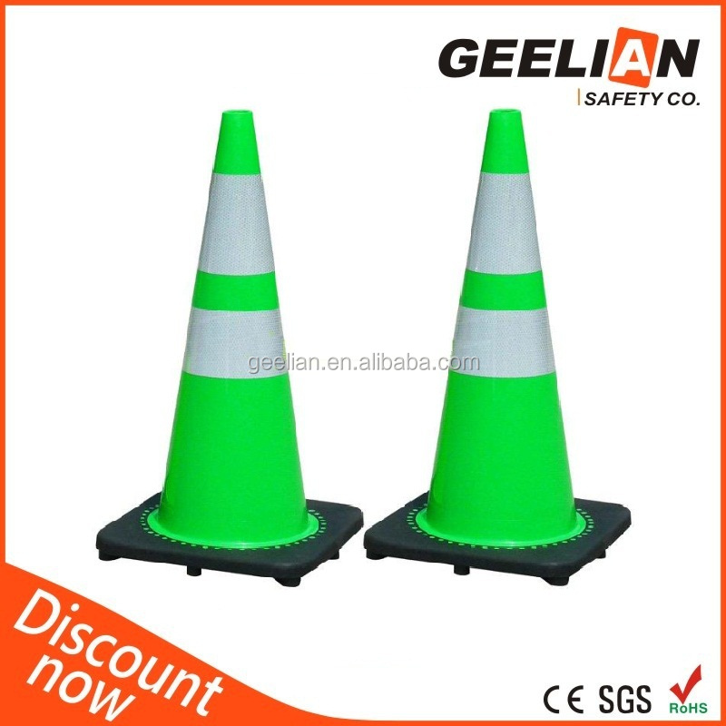 High Visibility 900mm Flat Roadway Flexible Traffic PVC Cone