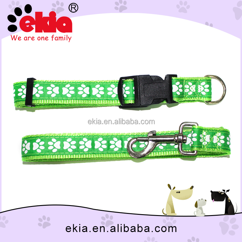 Ekia Factory Sale Custom Paw Prints Dog Collar And Leash