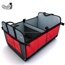 Collapsible and Foldable Auto Trunk Organizer with 3 Compartments, Side Pockets and Divider