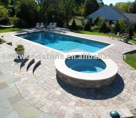 honed golden swimming pool coping stones