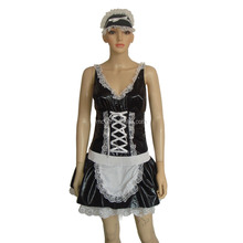 WC-0001 funny Carnival adult quality sexy black French satin Maid costume for women