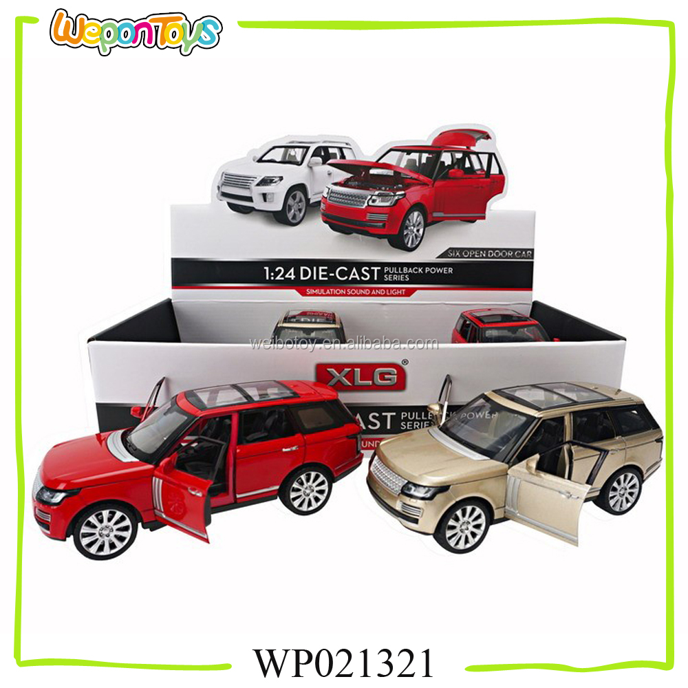 1:24 scale alloy diecast car six open door pull back metal car with sound and light luxurious diecast model car