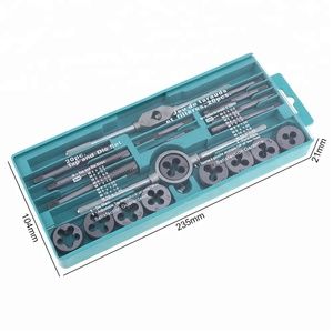 20pcs/set M6-M12 Tap and Die Set Combination Alloy Steel Hand Tools Metric Size for Wood Plastic Soft Metal Steel