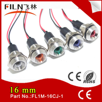 16mm metal waterproof low voltage 6v 12v led red and green indicator light