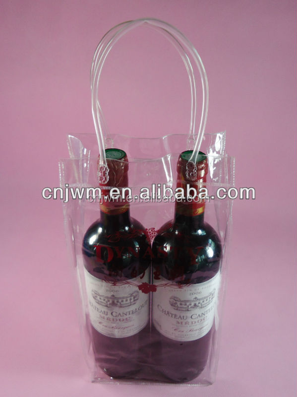 China factory cheap transparent pvc plastic wine bags with handle