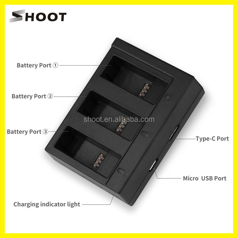 SHOOT Camera Battery Pack With Triple Charger for Gopro Hero 5 Accessories Kit 3 Pack