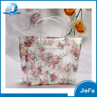 Cheap promotion PVC printting flowers bags for woman