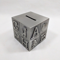 Metal Square Money Box With ABCDEFG In Pewter Plated
